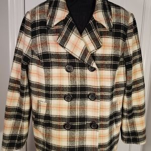 Chadwick Black Plaid Peacoat... Size 18